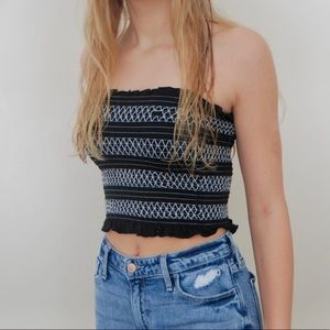 American Eagle Black and White Textured Tube Top